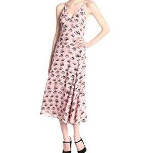 Women's Silk Pink Floral Maxi Dress SZ 4